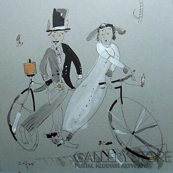 Dariusz Grajek-Para młoda na bicyklu...-Grafika