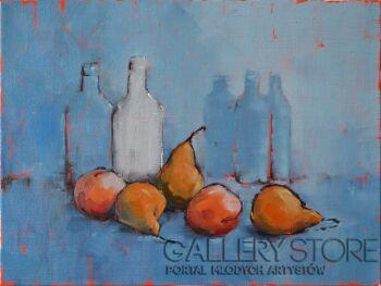 Wiaszesław Rogin-Martwa natura z owocami na niebieskim tle-Olej