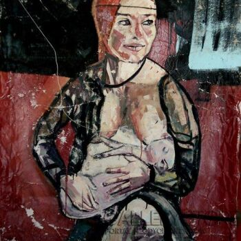 Piotr Kachny-Lady with piglet-Malarstwo
