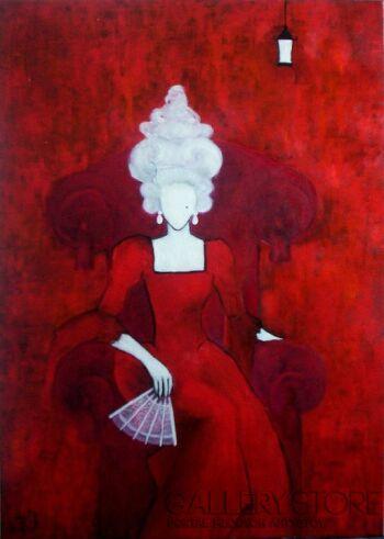 Helga Nagy-Woman in red armchair-Olej