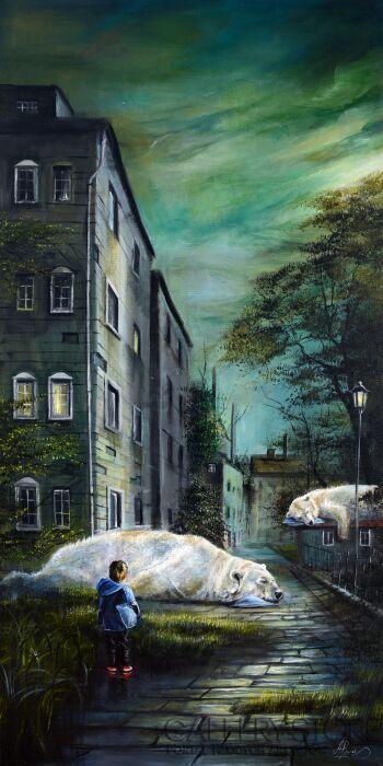 Agata Buczek-Chłopiec z niebieską poduszką-Olej