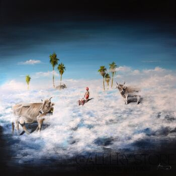 "Agata Buczek-""Piąta pora roku : sanki na chmurach""-Akryl"