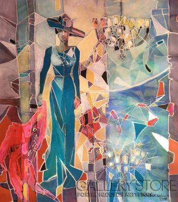 Agata Padol-Błękitna suknia-Akryl