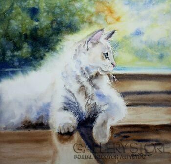 Agnieszka Aszkiełowicz-biały kot-Akwarela