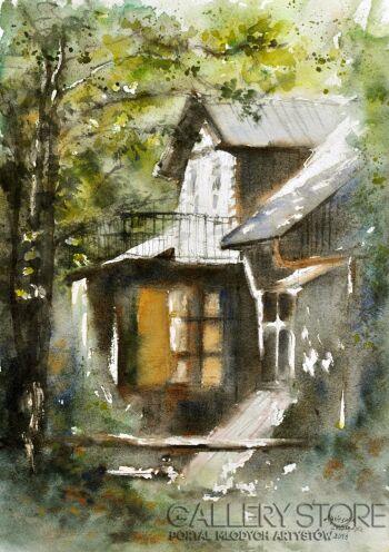 Agnieszka Leszczyńska-Drewniany dom-Akwarela