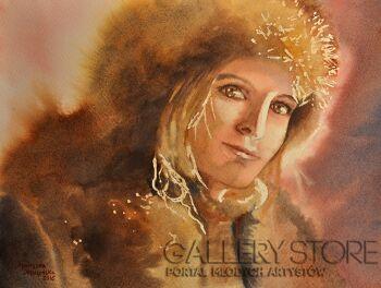 Agnieszka Leszczyńska-Dziewczyna w futrzanej czapce-Akwarela