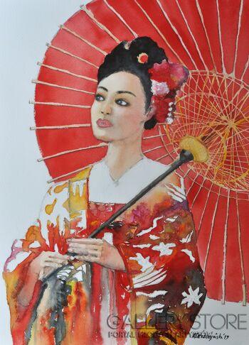 Agnieszka Leszczyńska-Portret Japonki-Akwarela