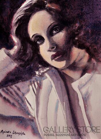 Agnieszka Leszczyńska-Portret w stylu retro-Akwarela