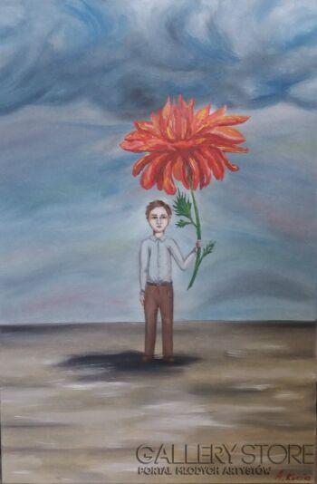 Aleksandra Kucia-Chłopiec z chryzantemą-Olej