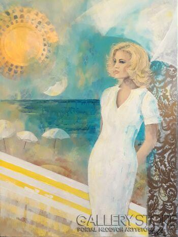 Aleksandra  Michalik-Blondynka w Miami-Akryl