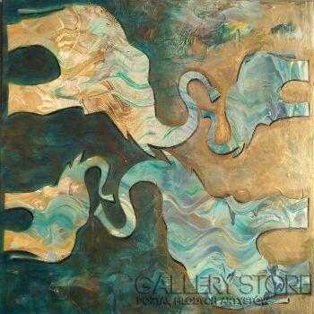 Aleksandra  Michalik-Cztery słonie, zielone słonie-Akryl