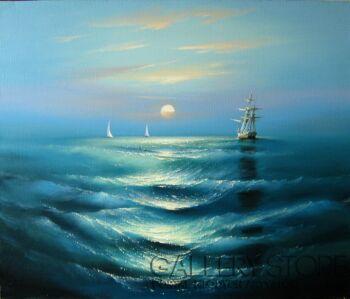 Andrei Chakhouski-Zachód słońca nad morzem-Olej