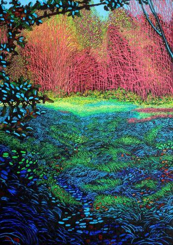 Angelika Mus-Nowak-Błękitna trawa, różowe gałęzie-Rysunek