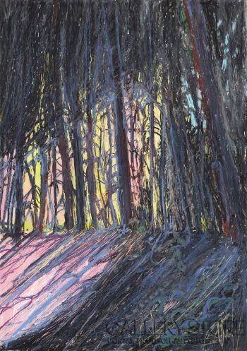 Angelika Mus-Nowak-Ciepłe światło w lesie-Rysunek