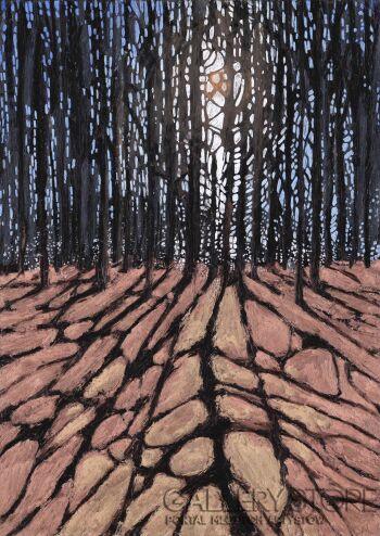 Angelika Mus-Nowak-Długie cienie na złotych liściach-Rysunek