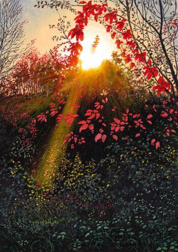 Angelika Mus-Nowak-Trójkąt z czerwonych liści-Rysunek