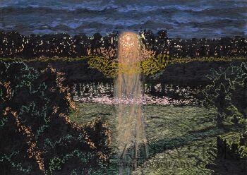 Angelika Mus-Nowak-Wieczorne słońce spod chmur-Rysunek