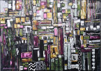 Anita Domeracka-Abstrakcja z pingwinem-Akryl
