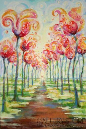 """Anna Pawlak-""""Aleja kwiatów""""-Akryl"""