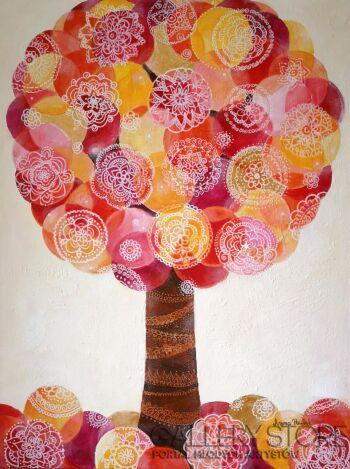 """Anna Pawlak-""""Drzewo zachodzącego słońca""""-Akryl"""