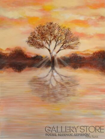 """Anna Pawlak-""""Zachód słońca nad zalewem""""-Akryl"""