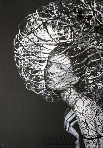 Anna Rączka-Black and white-my insomnia II-Olej
