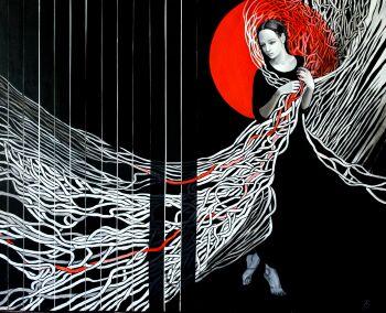 Anna Rączka-Black and white-red-Olej