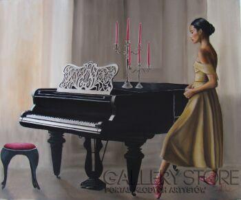 Artem Tuliuk-Baletnica przy fortepianu-Olej