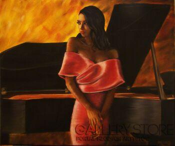 Artem Tuliuk-Przy fortepianie-Olej