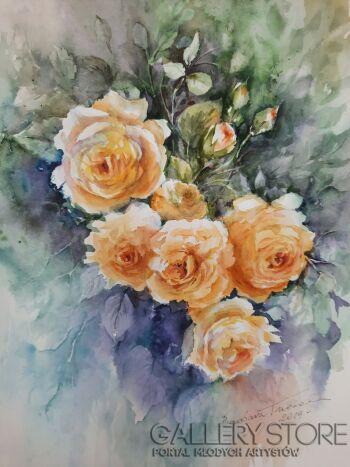 Barbara Trzeciak-Róże z mojego ogrodu-Akwarela