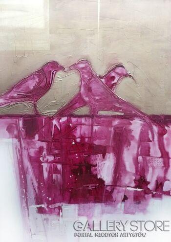 Barbara Zabłocka-różowe ptaki-Akryl