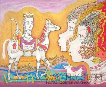 Bohdan Wincenty Łoboda-Księżniczka podwójna i biały koń-Akryl