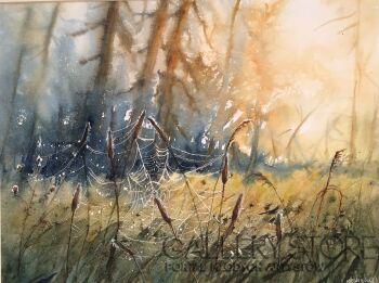 Boźenna Niewinowska-Słońce i pajęczyna -Akwarela