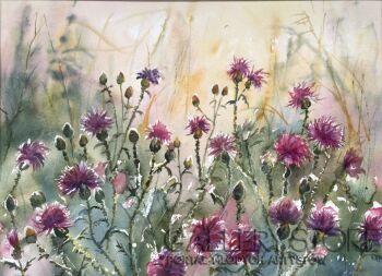 Boźenna Niewinowska-W różu i fiolecie-Akwarela