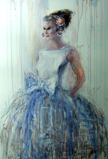 Dariusz Grajek-Błękitna sukienka....-Olej