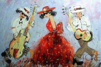 Dariusz Grajek-Dziewczyna i muzycy.....-Akryl