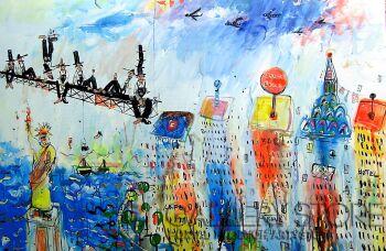Dariusz Grajek-Nad Manhattanem....-Akryl