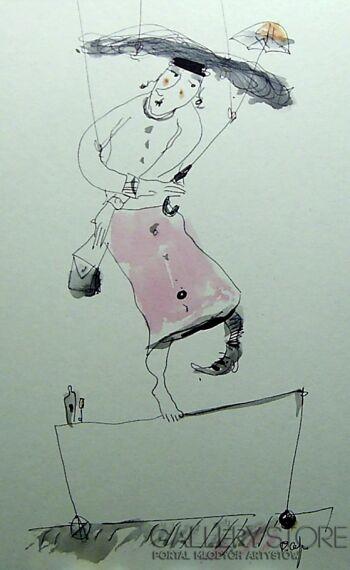 Dariusz Grajek-Panna na linie....-Rysunek