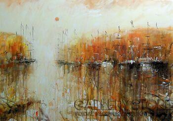 Dariusz Grajek-Słońce i port.....-Akryl