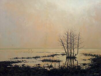 Dariusz Gumowski-Żurawie o świcie-Olej