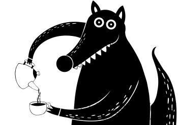 Dominika Wilk-Wilk z kawą-Grafika