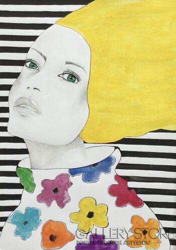 Dorota Góralczyk-Yellow girl -Akwarela