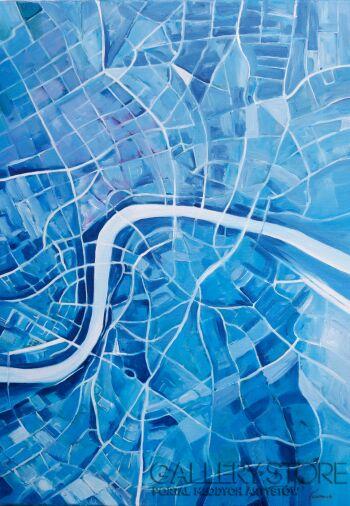 Edward Karczmarski-Londyn - widok z nieba-Olej