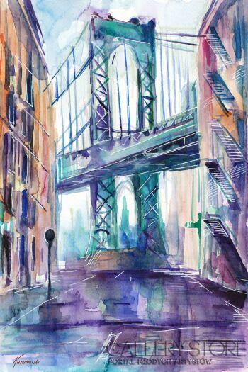 Edward Karczmarski-Nowy Jork Widok na most brookliński-Akwarela