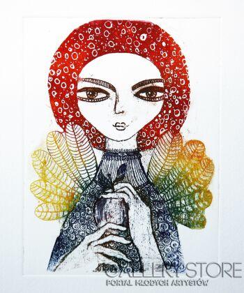 Ewa Narloch-Kerszka-Anioł z jabłkiem-Grafika