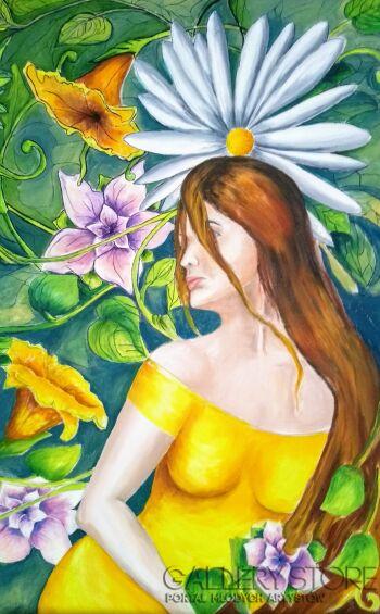 Ewa Nowiszewska-Dziewczyna w żółtej sukience-Olej