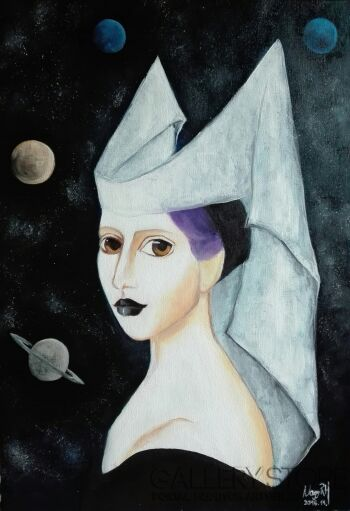 Helga Nagy-Woman with hennin-Olej