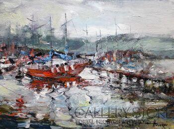 Henadzy Havartsou-Jachty na jeziorze -Olej