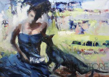 Henadzy Havartsou-Kobieta z piórkiem -Olej