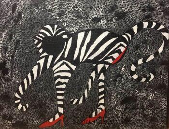 Iwona Molecka-Dancing in red high heels-Akryl
